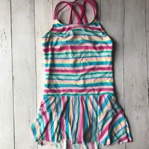 Lands End Girls One Piece Skirted Swimsuit, size 6